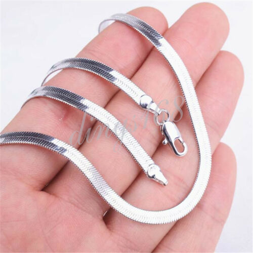 18K White Gold Filled Tarnish-Resistant 4mm Wide Flat Snake Chain Necklace H14