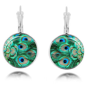 Vintage-Style-Green-Peacock-Glass-Silver-Cabochon-Hoops-Drop-Earrings-E1236