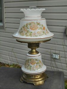 Vintage Hurricane Lamp Quoizel Electric Glass Table Lamp