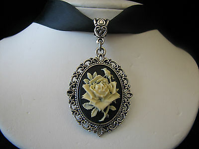 New Victorian Style White Rose Cameo Choker Necklace Wedding Jewelry