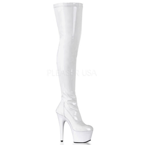 "7/"" Black Latex Thigh High Fetish Hooker Pretty Woman Stripper Boots size 8 9 10"