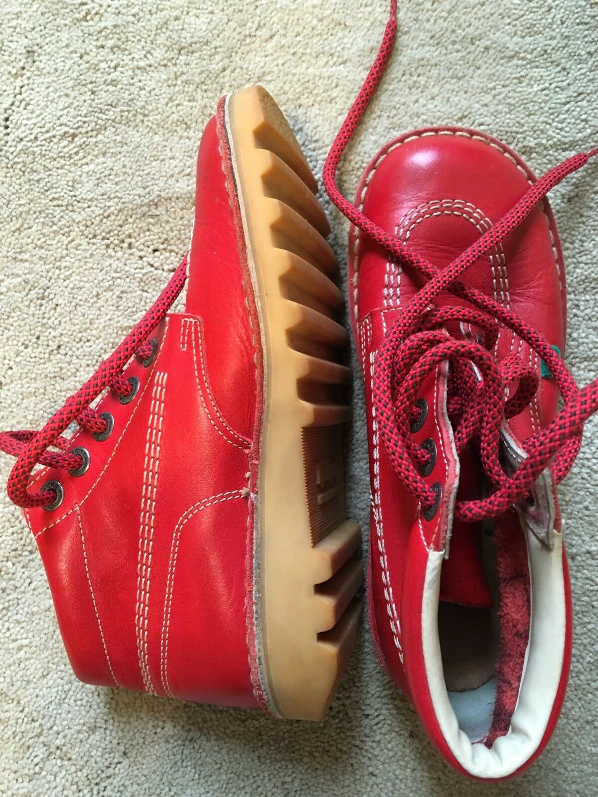Kickers Ankle Boots Boots Boots Flat,Leather,Red,Lace Up,Ladies Size 4(37)Used Twice ec7deb