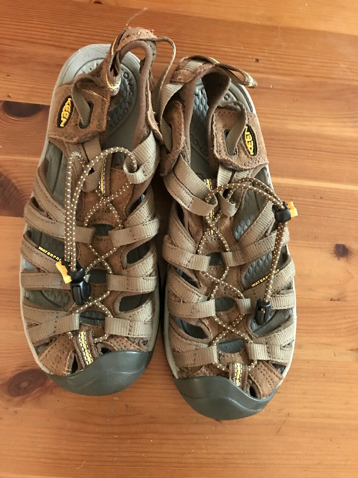 Keen Brown Leather Canvas Sandals Size 7 Mens Youth Waterproof