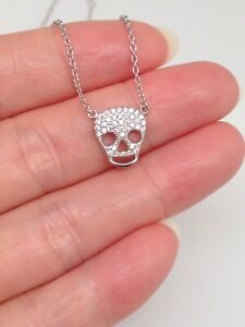 Couples Skull Pendant Punk 925 Sterling Silver No Chain Necklace Lover Jewelry