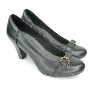 Clarks-Bendables-WOMEN-039-S-TAGLIA-7-5M-Nero-Scarpe-in-Pelle-Tacco-A-Blocco-Fibbia-EUC