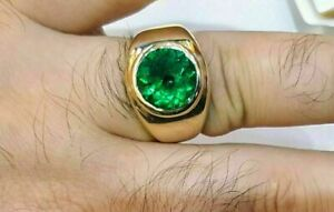 3-Ct-Round-Cut-Green-Emerald-Solitaire-Wedding-Ring-14k-Yellow-Gold-Over-For-Men