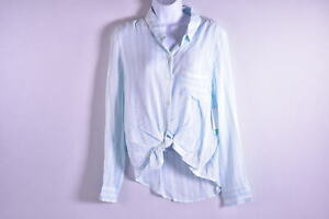 Women's Abound Button Up Long Sleeve Blouse Shirt, Blue & White Stripes