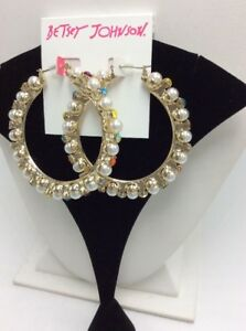6418ed3e5e456 Details about $55 Betsey Johnson Granny Chic Pearl Colorful Stone Hoop  Earrings M500