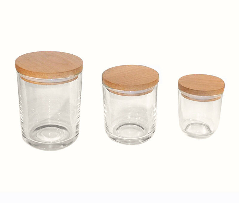FIFTH AVENUE CLEAR GLASS JAR. SMALL, MED, LG. LG. LG. 6d0d61