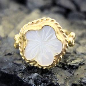 Handmade-Hammered-Flower-Shell-Ring-22K-Gold-Over-925K-Sterling-Silver