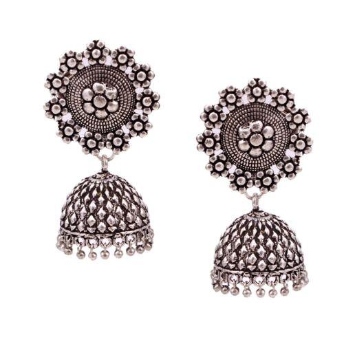 Oxydé plaqué argent mariage jhumka Bollywood JHUMKI Boucles D/'oreilles Bijoux Femmes