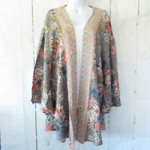 New Angie Kimono 1X Gray Pink Floral Boho Peasant Cardigan Plus Size Cottagecore