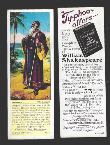 Typhoo Tea CHARACTERS FROM SHAKESPEARE Type Cards EX VG