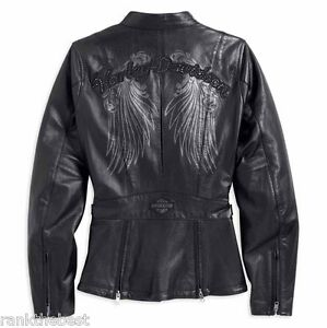 M Nero Raggiante Pelle Donna Harley Davidson Giacca 14vw S Strass 97198 htsrCQdx