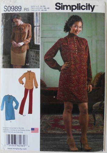 Simplicity 8166 Misses Dress Tunic Skirt Pants Sewing Pattern Sz 14-22