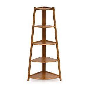 Image Is Loading Corner Ladder Shelf Bookcase Display Wood 5 Tier