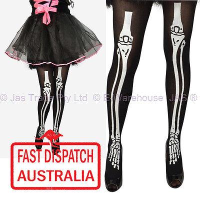 Halloween Costume Fancy Dress Leg Wear Tights Pantyhose xray skeleton bone BLACK