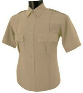 Uniform security guard police tan polyester shirt short sleeve wrinkle free