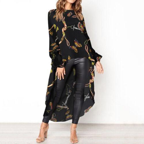 Womens Fashion Long Sleeve Vintage Maxi Tops Printed High Low Shirt Loose Blouse