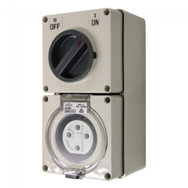 4 Pin 20amp Switched Socket Combination Outlet Ip66