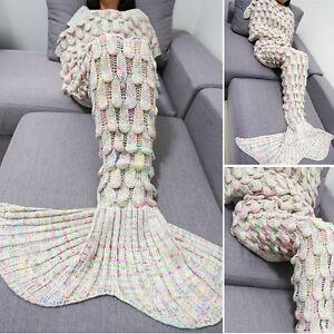Mermaid FishTail Blanket Crochet Adult Knit Rugs Sleeping ...