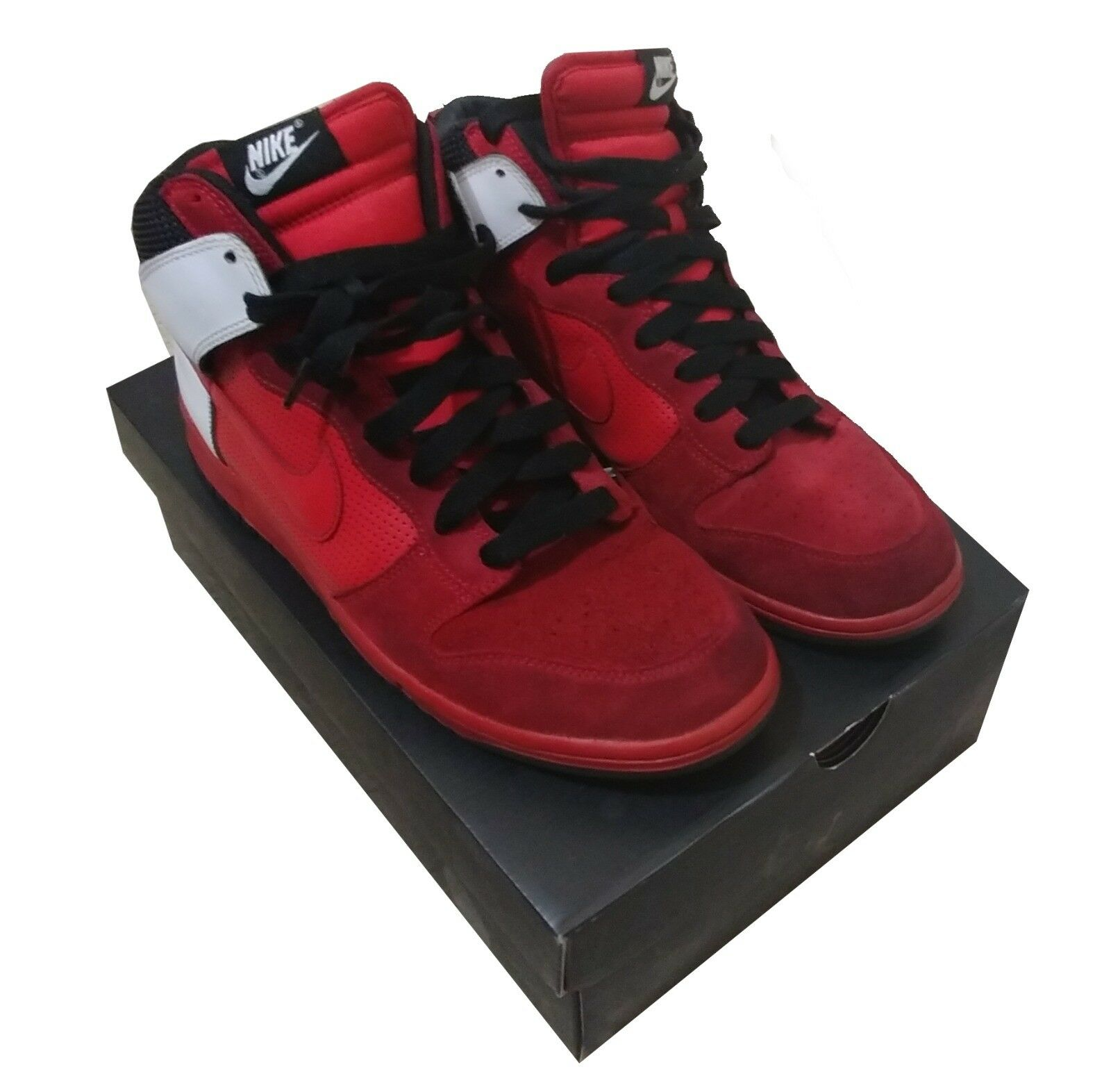 Men's Nike Dunks High Tops - Red and White (Size 11)