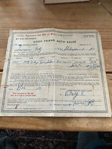 1949-Good Friends Auto Sales-Bronx NY Receipt For A 1948 Dodge Auto -see Photo
