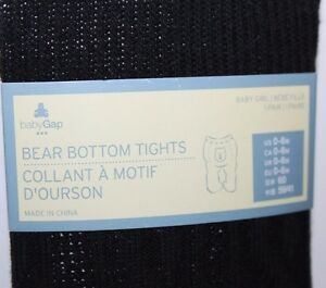 baby Gap NWT Girl/'s Black Cotton Cable Tights w// Bear on Bum