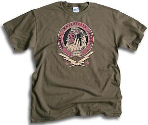 Indian-America-039-s-Motorcycle-Original-Skull-Stars-Biker-Men-Olive-Green-T-Shirt