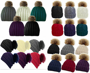 Ladies   Womens Faux Fur Bobble Beanie Hat Fixed or Detachable Pom ... 03903ff47ab