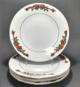 4-Fine-China-Poinsettias-and-Ribbons-Christmas-Holiday-10-5-034-Dinner-Plates