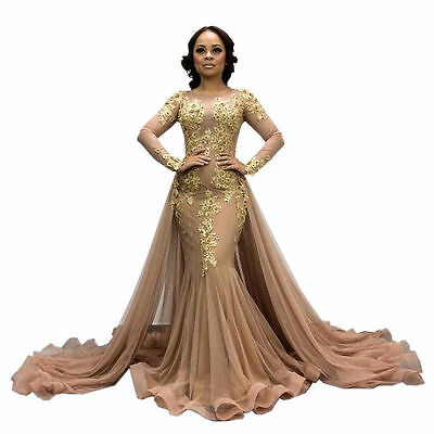 Gold Lace Applique Mermaid Dresses Prom Party Gowns Long Evening Dress Custom | eBay
