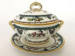Antique-1800s-Minton-Porcelain-Lidded-Serving-Bowl-Tureen-Floral-Brunswick