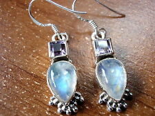 Rainbow Moonstone & Faceted Amethyst Earrings 925 Sterling Silver Dangle Hook
