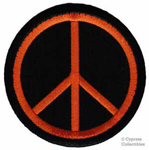 PEACE-SIGN-iron-on-patch-WOODSTOCK-SUMMER-LOVE-orange-EMBROIDERED-APPLIQUE