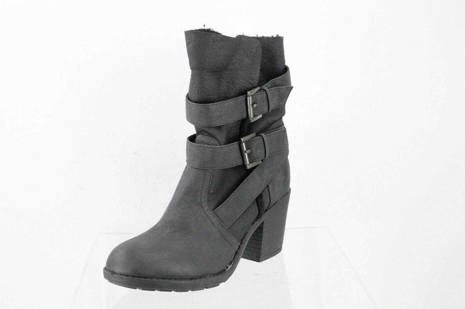 Report Yurick Dark Gray Leather Harnessed Ankle Boots Women's Shoes Sz 8.5 M NEW