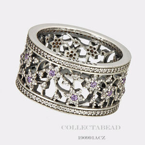ee2e22cd7 Authentic Pandora Silver Round Forget Me Not Purple Ring Size (4.5 ...