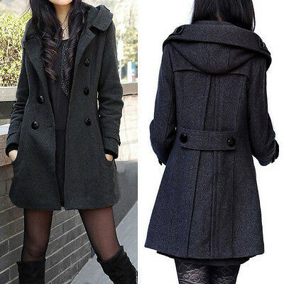 Double-Breasted New Winter Women's Wool Hooded Slim Trench Coat Long Overcoat