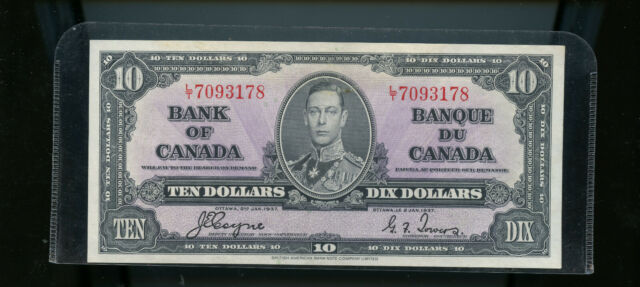 1937 Bank of Canada $10 Coyne Towers UNC CH134