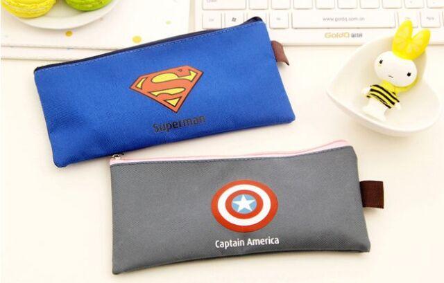 Canvas Superman Batman Captain American pencil Pen case coin pouch pockets
