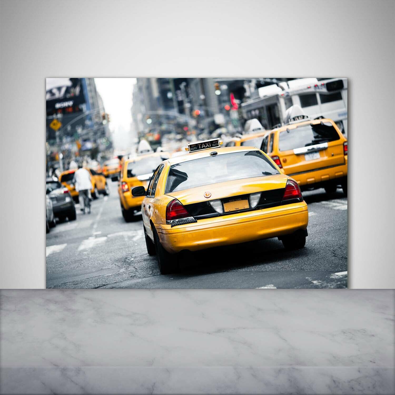 Küchenrückwand Spritzschutz aus Glas 100x70 Deko Fahrzeuge Taxis New York