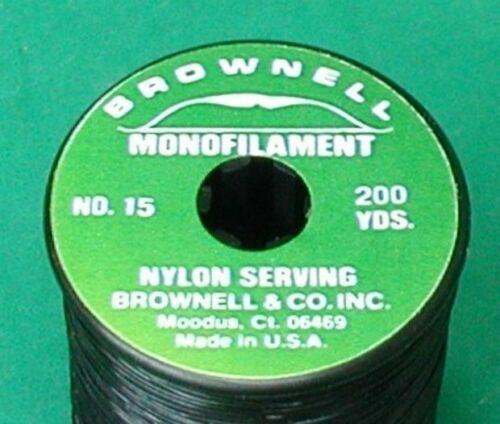 No New Spool Monofilament Serving Thread 15 Black Brownell /& Co