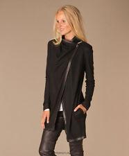 Helmut Lang Sonar Wool Leather Toggle Cardigan Sweater Jacket Black S