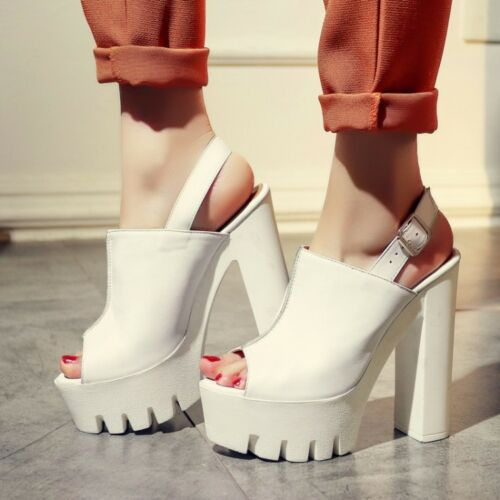 vera pelle alta bianche Sexy tacco donna scarpe nero grosso sandali 1wq7xfRp