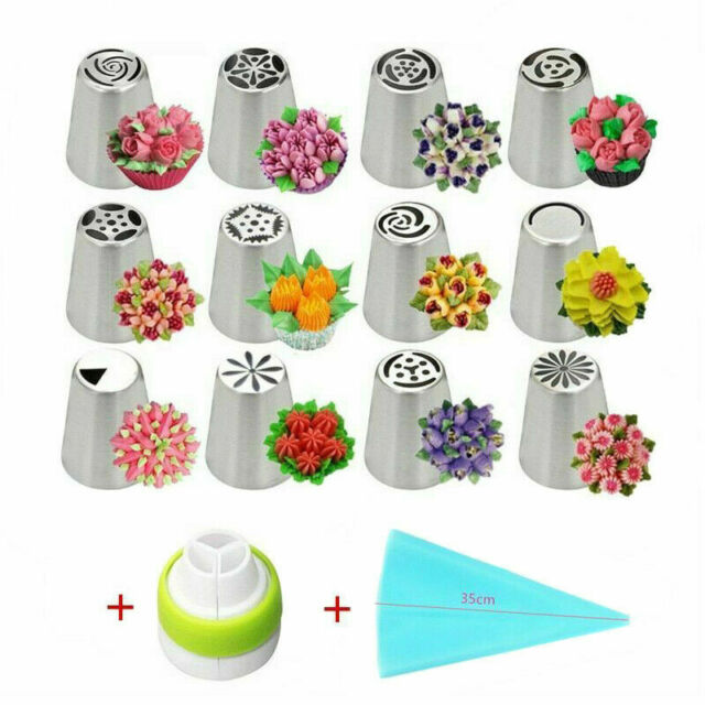 14pc Cake Icing Piping Nozzles Baking Tools Russian Tulip Flower Decorating Tips