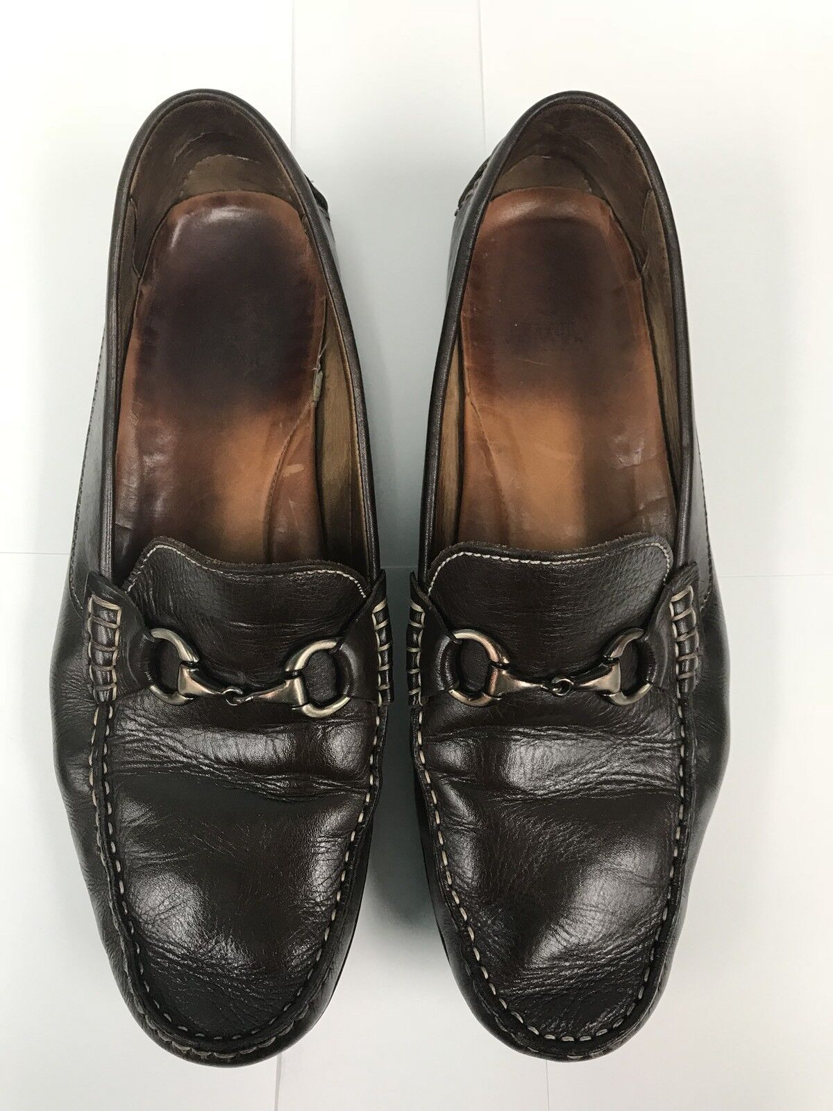 Peter Millar Uomo Driving Mocs Loafer Horsebit Brown Pelle Shoes Size 11.5M
