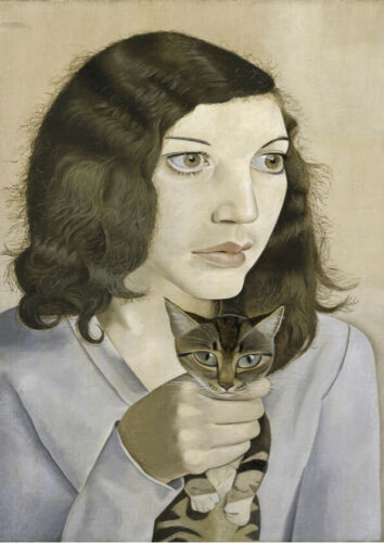 /'Girl with a Kitten/' Lucian Freud Art Portrait 1947 Painting Print