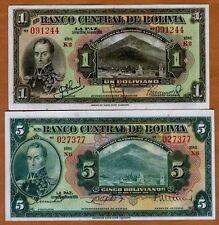 SET Bolivia, 1;5 Bolivanos, L. 1928, P-118-120, aUNC