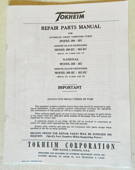 s l640 tokheim 300 305 and national 360 & 365 gas pump parts manual bk