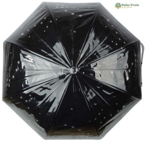 Fallen Fruits Esschert Transparent Stars Umbrella in Black with Silver Stars